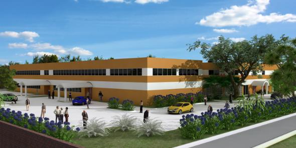 Diseño de construcción del ángulo suroeste de la nueva expansión que se añadirá a la sede de la División Interamericana en Miami, Florida. Imagen cortesía de 3L Builders –DIA