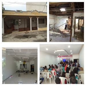 Iglesia Nueva Esperanza (1) Fachada (2) incio de la remodelación (3) Finalización del proyecto (4) Reunión  de sábado en la iglesia ya remodelada