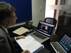 El pastor José Martínez, director de comunicación de la UCN participa desde Medellín, en la reunión en línea en la que también participaron los demás directores del departamento en el territorio interamericano