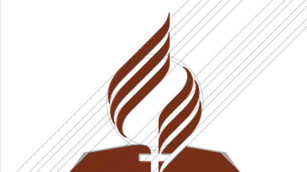 El bosquejo de un artista del logotipo actualizado de la Iglesia Adventista del Séptimo Día.  [Imagen de Bryan Gray/ANN]